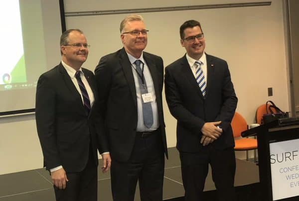 Mike Goodman( middle) representing EO Frank Sammut with Senator the Hon Zed Seselja (left) and MP Ted OBrien (right)
